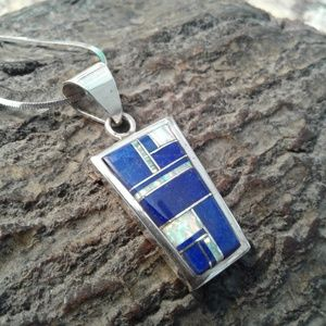 Jewelry - Sterling silver reversible lapis inlay pendant
